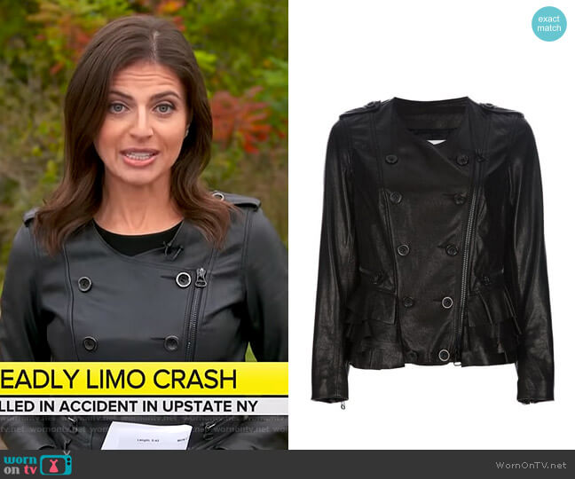 Leather Zip-Up Jacket by 3.1 Phillip Lim worn by Bianna Golodryga on CBS This Morning