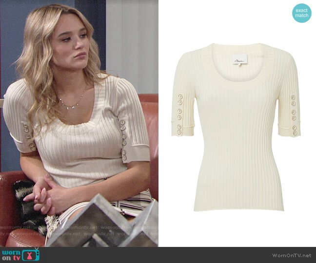 3.1 Phillip Lim Ribbed Button Sleeve Top worn by Summer Newman (Hunter King) on The Young & the Restless