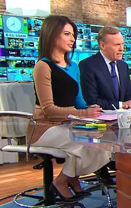 Bianna's colorblock long sleeve dress on CBS This Morning