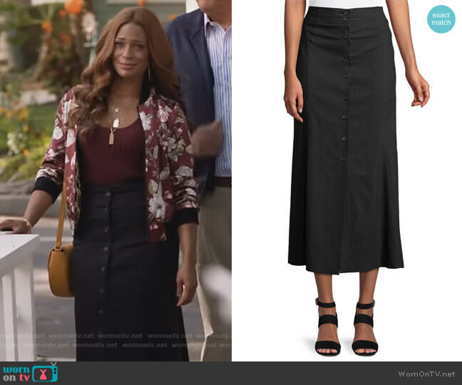 Amelie Button-Front Midi Skirt by ALC worn by Kimrie Lewis on Single Parents