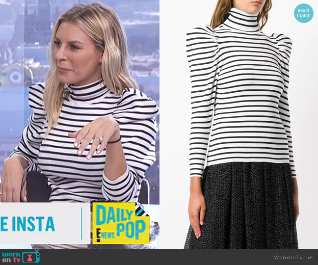 Baker Striped Puff-Sleeve Turtleneck Sweater by ALC worn by Morgan Stewart  on E! News