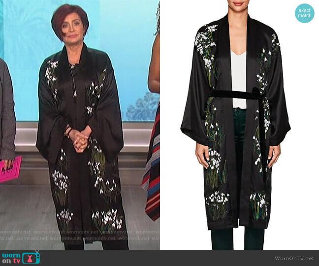 Helena Floral Silk Long Kimono by Alice Archer worn by Sharon Osbourne on The Talk