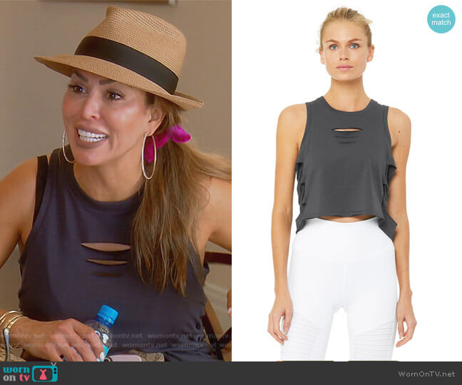 Cut it Out Cropped Tank by Alo worn by Kelly Dodd (Kelly Dodd) on The Real Housewives of Orange County