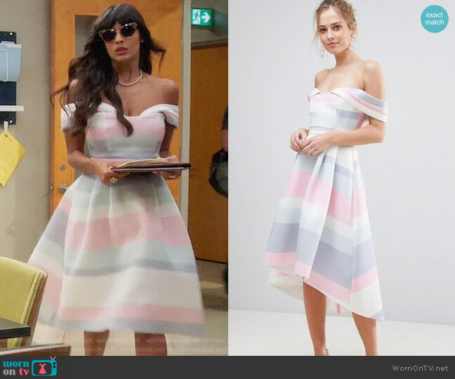 ASOS Bardot Cold Shoulder Dip Back Pastel Stripe Prom Dress worn by Tahani Al-Jamil (Jameela Jamil) on The Good Place