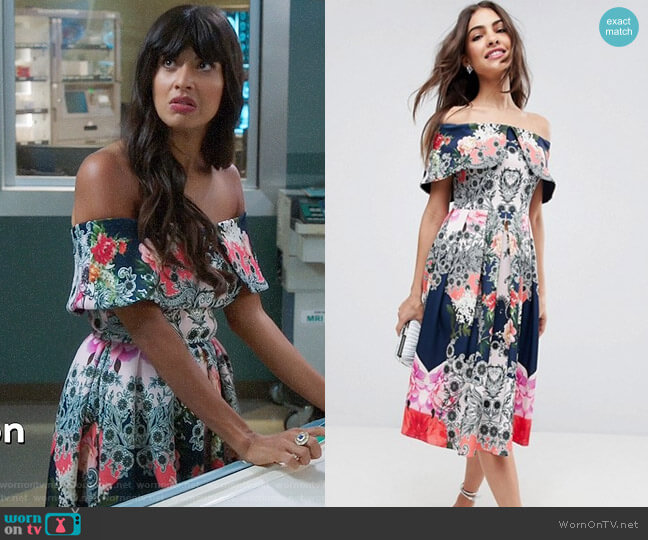 ASOS Bardot Ergonomic Floral Midi Prom Dress worn by Tahani Al-Jamil (Jameela Jamil) on The Good Place