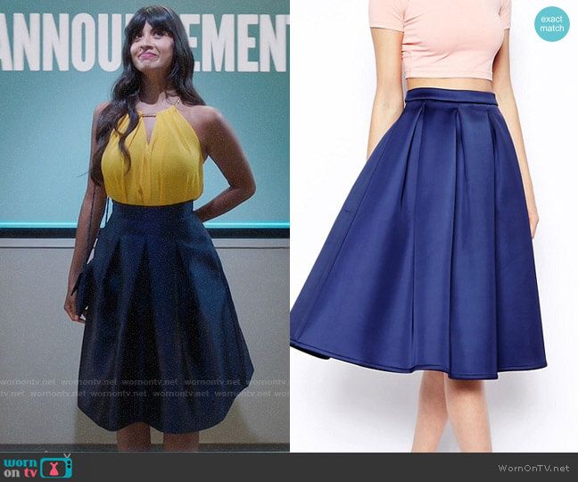 ASOS Premium Prom Midi Skirt In Bonded Satin worn by Jameela Jamil on The Good Place