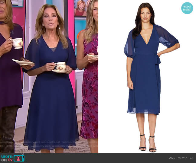 Textured Chiffon Wrap Dress by Adrianna Papell worn by Kathie Lee Gifford (Kathie Lee Gifford) on Today