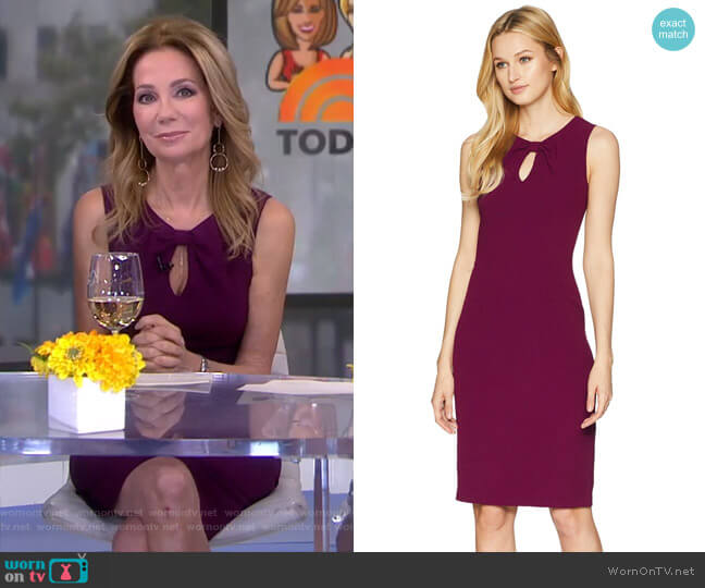 Textured Crepe Draped Neckline Sheath Dress by Adrianna Papell  worn by Kathie Lee Gifford on Today
