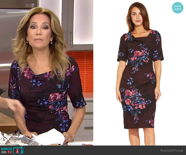 Half Sleeve Draped Floral Sheath Dress with V-Back by Adrianna Papell worn by Kathie Lee Gifford on Today