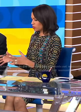 Adrienne's mixed print dress on Good Morning America