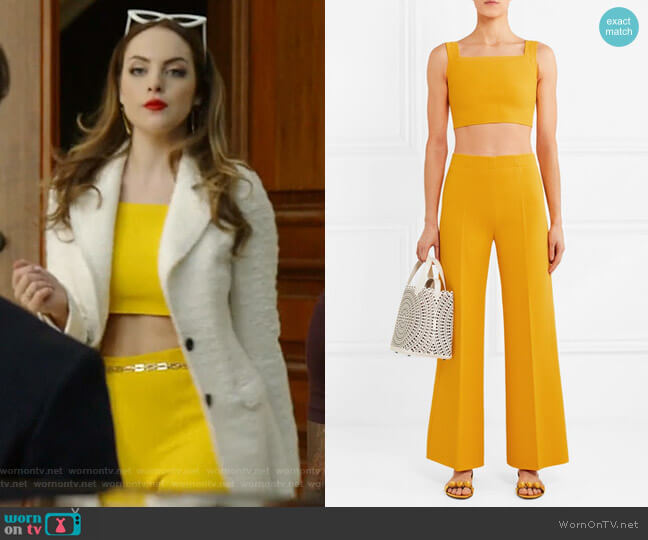Cropped knitted top and pants by Alaia worn by Fallon Carrington (Elizabeth Gillies) on Dynasty