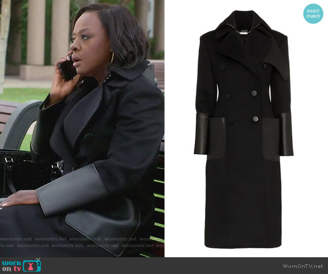 Double-Breasted Coat With Leather Pockets by Alexander McQueen worn by Viola Davis on HTGAWM