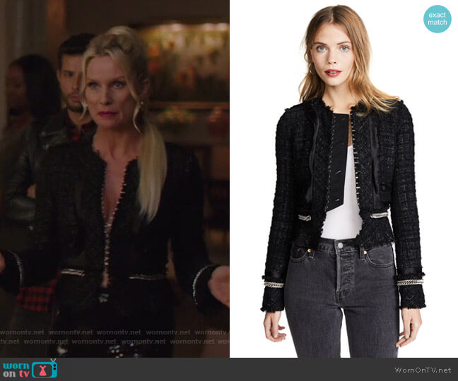 Alexander Wang Deconstructed Tweed Jacket with Chain Trim worn by Alexis Carrington (Elaine Hendrix) on Dynasty
