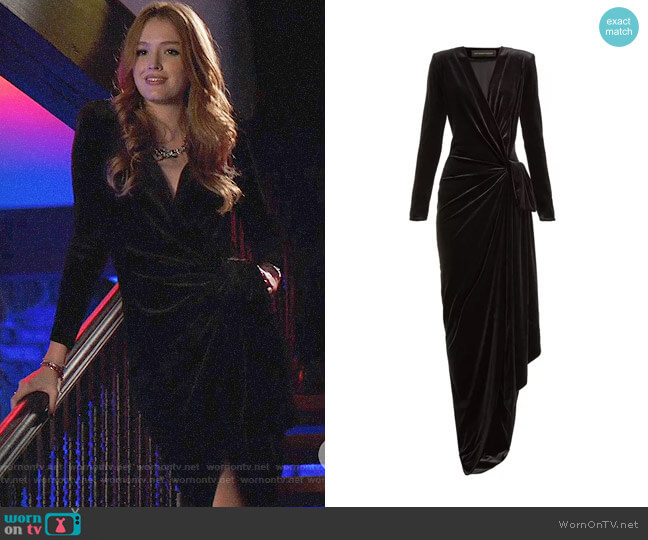 Alexandre Vauthier Gathered velvet wrap gown worn by Kirby Anders (Maddison Brown) on Dynasty