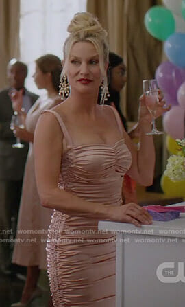 Alexis's pink ruched dress on Dynasty