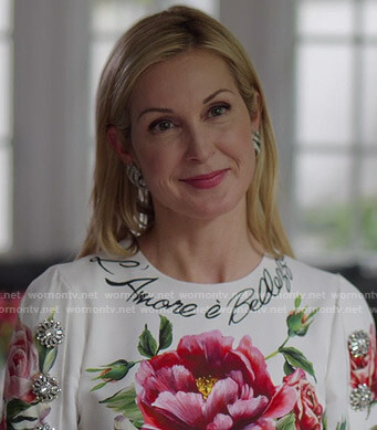 Melissa's white floral dress on Dynasty