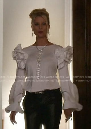 Alexis's white ruffled top on Dynasty
