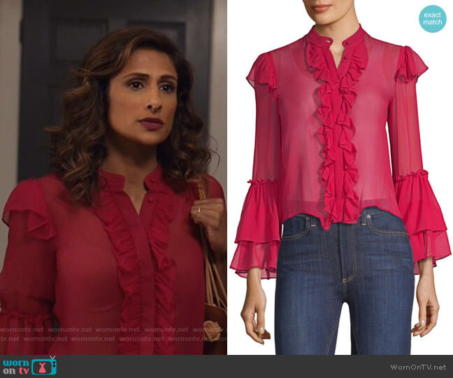 Odele Blouse by Alice + Olivia worn by Sarayu Blue on I Feel Bad