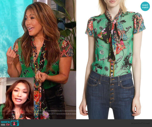 Bow Neck Mixed Print Blouse by Alice + Olivia worn by Carrie Inaba  on The Talk