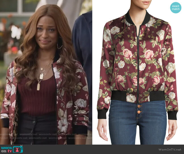Lonnie Reversible Silk Bomber Jacket by Alice + Olivia worn by Kimrie Lewis on Single Parents