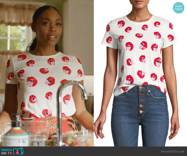 X Donald Robertson Rylyn Embellished Crewneck Tee by Alice + Olivia worn by Nafessa Williams on Black Lightning