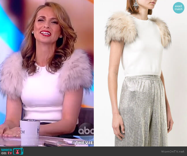 Ciara rabbit fur-trimmed top by Alice + Olivia worn by Jedediah Bila on The View