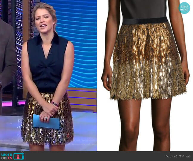 Cina Skirt by Alice + Olivia worn by Sara Haines on Good Morning America
