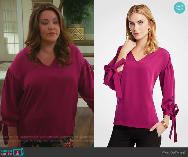 V-Neck Tie Sleeve Blouse by Ann Taylor worn by Katie Otto (Katy Mixon) on American Housewife