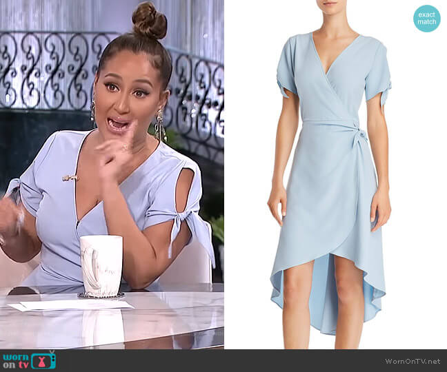 High/Low Faux-Wrap Dress by Aqua worn by Adrienne Houghton on The Real