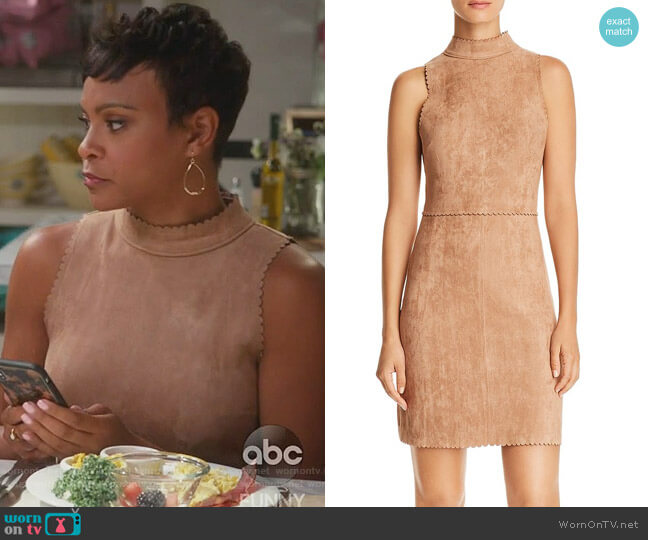 Scalloped Faux Suede Sheath Dress by Aqua worn by Angela (Carly Hughes