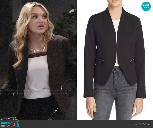 Aqua Zip Pocket Blazer worn by Hunter King on The Young & the Restless