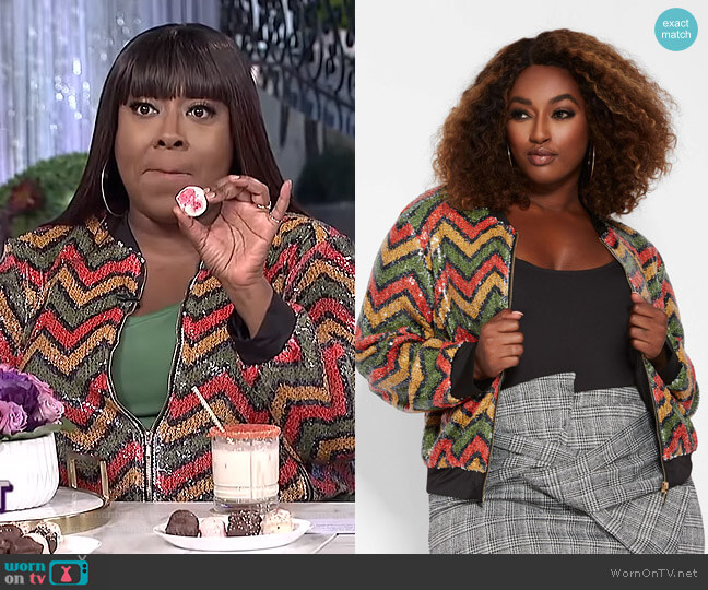 Zig Zag Sequin Bomber Jacket by Ashley Stewart worn by Loni Love  on The Real