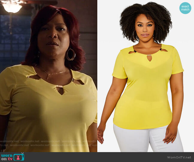 Short Sleeve Cutout Neckline Top by Ashley Stewart worn by Carlotta Brown (Queen Latifah) on Star