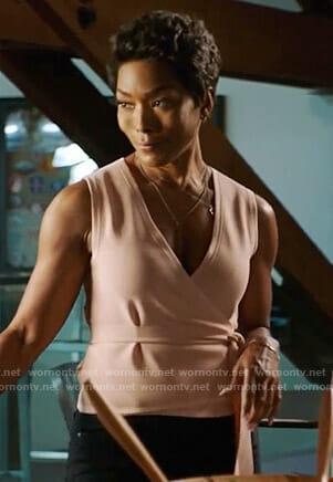 Athena's pink sleeveless wrap top on 9-1-1