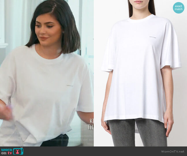 Cocoon copyright-logo cotton-jersey T-shirt by Balenciaga worn by Kylie Jenner (Kylie Jenner) on Keeping Up with the Kardashians
