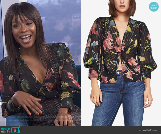 Rustic Grove Twist-Front Blouse by BCBGMAXAZRIA worn by Zuri Hall  on E! News