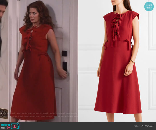 Bow-detailed midi dress by Bottega Veneta worn by Grace Adler (Debra Messing) on Will & Grace