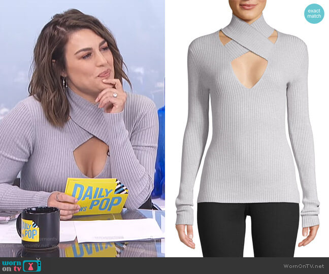 All In Wrap Cut-Out Sweater by Bailey 44 worn by Carissa Loethen Culiner  on E! News
