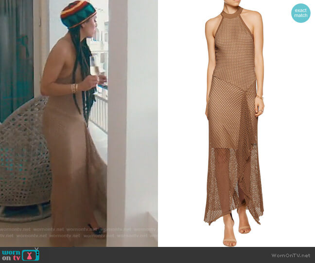Asymmetric Crochet Knit Midi Dress by Bailey 44 worn by Kelly Dodd (Kelly Dodd) on The Real Housewives of Orange County