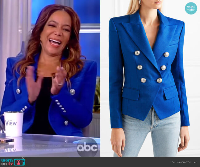 Double-breasted woven blazer by Balmain worn by Sunny Hostin (Sunny Hostin) on The View
