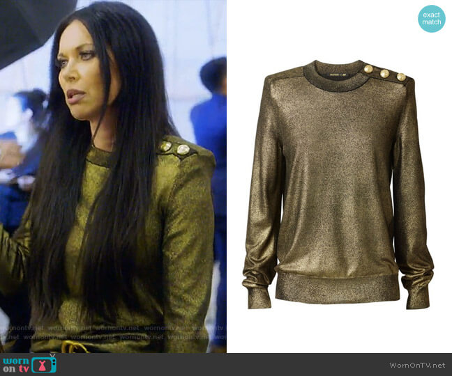 Gold Sweater by Balmain x H&M worn by LeeAnne Locken  on The Real Housewives of Dallas