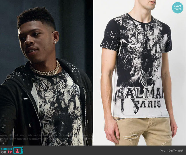 Mariniere Print T-shirt by Balmain worn by Bryshere Y. Gray on Empire