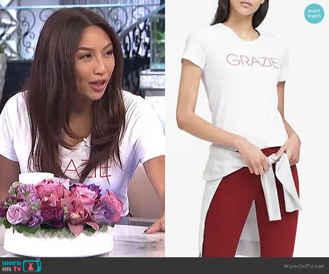 Cotton Graphic Crew by Banana Republic worn by Jeannie Mai  on The Real