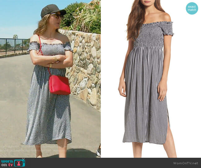 Gingham Off the Shoulder Midi Dress by Bardot worn by Kelly Dodd on The Real Housewives of Orange County