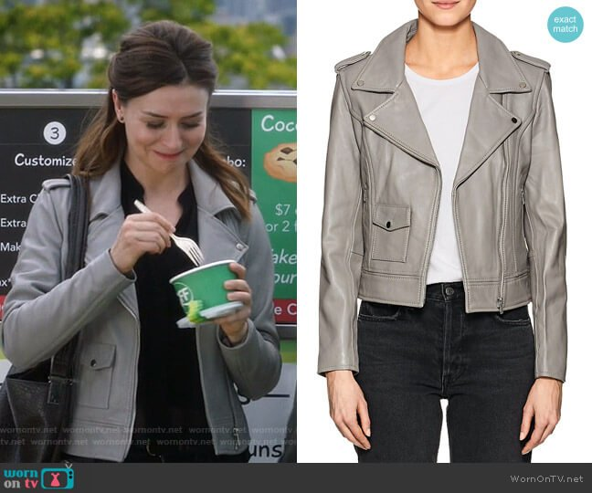 Leather Moto Jacket by Barneys New York worn by Amelia Shepherd (Caterina Scorsone) on Greys Anatomy