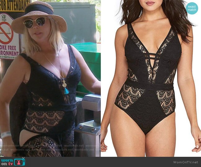 Color Play One Piece Swimsuit by Becca by Rebecca Virtue worn by Vicki Gunvalson  on The Real Housewives of Orange County
