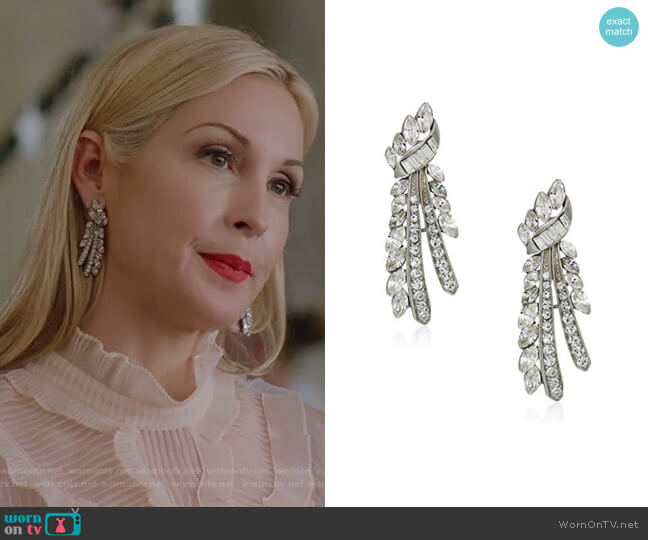 Crystal Branch Post Earrings by Ben-Amun worn by Kelly Rutherford on Dynasty