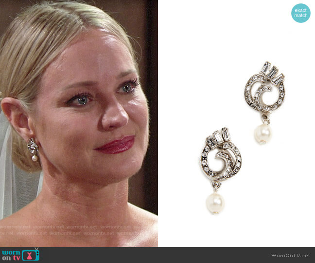 Ben-Amun Swirl Imitation Pearl Drop Post Earrings worn by Sharon Collins (Sharon Case) on The Young & the Restless