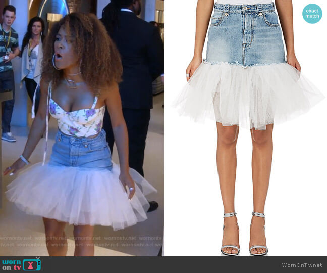 Tulle-Trimmed Denim Miniskirt by Ben Taverniti Unravel Project worn by Tiana Brown (Serayah McNeill) on Empire