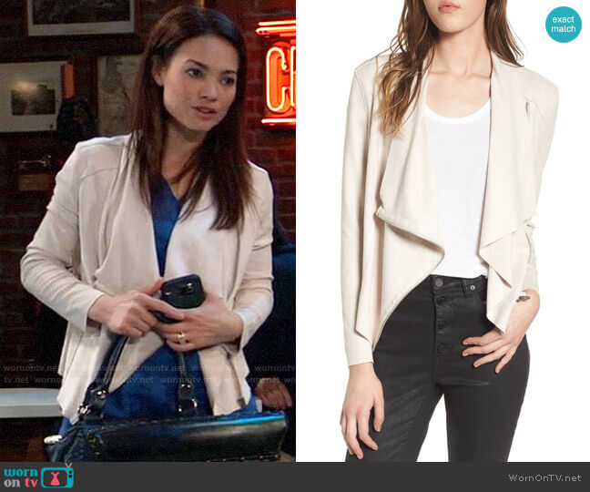 BlankNYC Drape Front Faux Suede Jacket worn by Elizabeth Webber (Rebecca Herbst) on General Hospital
